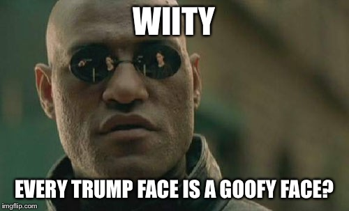 Matrix Morpheus Meme | WIITY EVERY TRUMP FACE IS A GOOFY FACE? | image tagged in memes,matrix morpheus | made w/ Imgflip meme maker