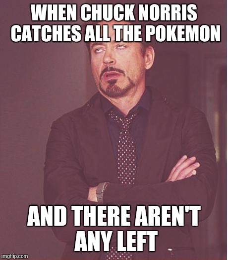 Face You Make Robert Downey Jr Meme | WHEN CHUCK NORRIS CATCHES ALL THE POKEMON AND THERE AREN'T ANY LEFT | image tagged in memes,face you make robert downey jr | made w/ Imgflip meme maker