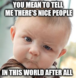 Skeptical Baby Meme | YOU MEAN TO TELL ME THERE'S NICE PEOPLE IN THIS WORLD AFTER ALL | image tagged in memes,skeptical baby | made w/ Imgflip meme maker