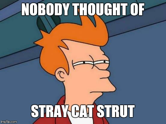 Futurama Fry Meme | NOBODY THOUGHT OF STRAY CAT STRUT | image tagged in memes,futurama fry | made w/ Imgflip meme maker
