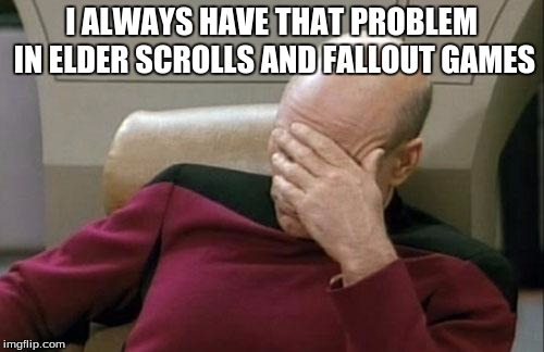 Captain Picard Facepalm Meme | I ALWAYS HAVE THAT PROBLEM IN ELDER SCROLLS AND FALLOUT GAMES | image tagged in memes,captain picard facepalm | made w/ Imgflip meme maker