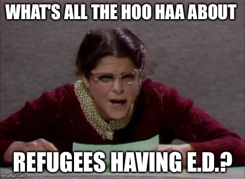 WHAT'S ALL THE HOO HAA ABOUT REFUGEES HAVING E.D.? | made w/ Imgflip meme maker