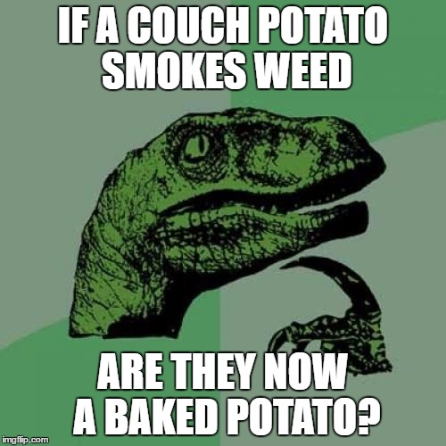 Philosoraptor |  IF A COUCH POTATO SMOKES WEED; ARE THEY NOW A BAKED POTATO? | image tagged in memes,philosoraptor | made w/ Imgflip meme maker
