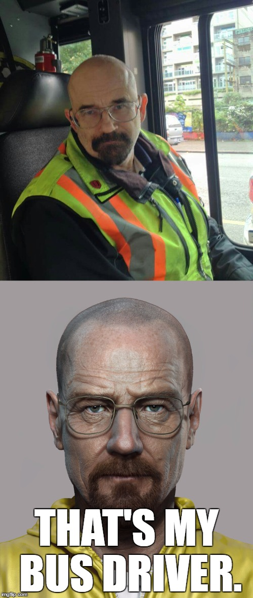 The Illuminati is strong with this one... | THAT'S MY BUS DRIVER. | image tagged in walter white,memes,look at me,i am the one who knocks | made w/ Imgflip meme maker