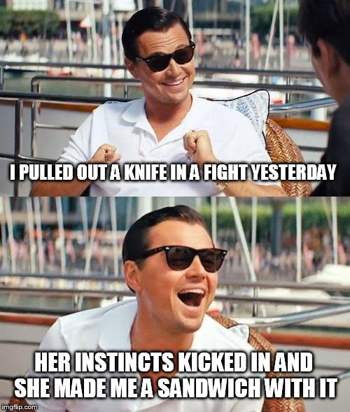 Leonardo Dicaprio Wolf Of Wall Street Meme | I PULLED OUT A KNIFE IN A FIGHT YESTERDAY HER INSTINCTS KICKED IN AND SHE MADE ME A SANDWICH WITH IT | image tagged in memes,leonardo dicaprio wolf of wall street | made w/ Imgflip meme maker