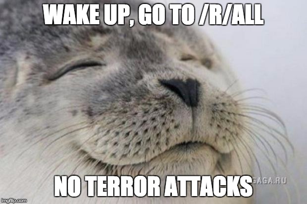 Happy Seal | WAKE UP, GO TO /R/ALL NO TERROR ATTACKS | image tagged in happy seal,AdviceAnimals | made w/ Imgflip meme maker
