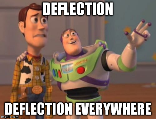 X, X Everywhere Meme | DEFLECTION DEFLECTION EVERYWHERE | image tagged in memes,x x everywhere | made w/ Imgflip meme maker