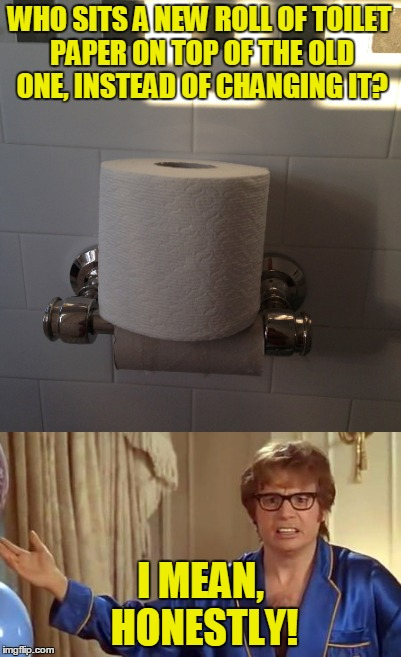 This could be the first clue that you are living with a psychopath | WHO SITS A NEW ROLL OF TOILET PAPER ON TOP OF THE OLD ONE, INSTEAD OF CHANGING IT? I MEAN, HONESTLY! | image tagged in memes,toilet,toilet paper,austin powers honestly,toilet paper wars,meme | made w/ Imgflip meme maker