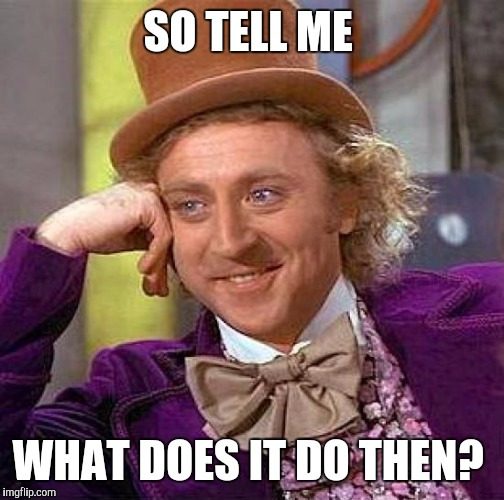 Creepy Condescending Wonka Meme | SO TELL ME WHAT DOES IT DO THEN? | image tagged in memes,creepy condescending wonka | made w/ Imgflip meme maker