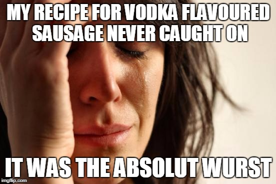First World Problems | MY RECIPE FOR VODKA FLAVOURED SAUSAGE NEVER CAUGHT ON IT WAS THE ABSOLUT WURST | image tagged in memes,first world problems | made w/ Imgflip meme maker