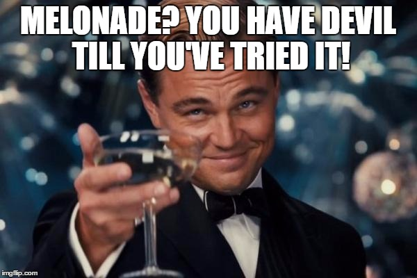 Leonardo Dicaprio Cheers Meme | MELONADE? YOU HAVE DEVIL TILL YOU'VE TRIED IT! | image tagged in memes,leonardo dicaprio cheers | made w/ Imgflip meme maker