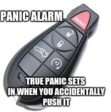 True Panic |  PANIC ALARM; TRUE PANIC SETS IN WHEN YOU ACCIDENTALLY PUSH IT | image tagged in key fob,car alarm,key,fob | made w/ Imgflip meme maker