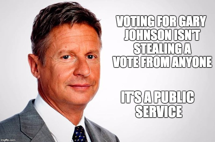 Vote Your Conscience | VOTING FOR GARY JOHNSON ISN'T STEALING A VOTE FROM ANYONE IT'S A PUBLIC SERVICE | image tagged in gary johnson,vote,2016,election | made w/ Imgflip meme maker