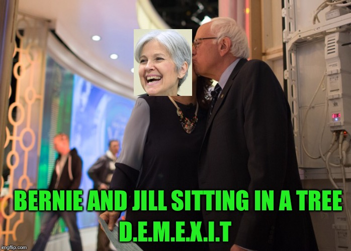Sitting in a... | BERNIE AND JILL SITTING IN A TREE D.E.M.E.X.I.T | image tagged in bernie sanders,jill stein,demexit,green party,dnc,kissing | made w/ Imgflip meme maker