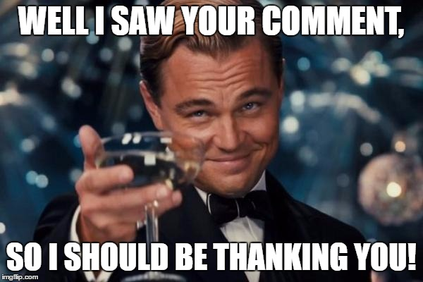 Leonardo Dicaprio Cheers Meme | WELL I SAW YOUR COMMENT, SO I SHOULD BE THANKING YOU! | image tagged in memes,leonardo dicaprio cheers | made w/ Imgflip meme maker