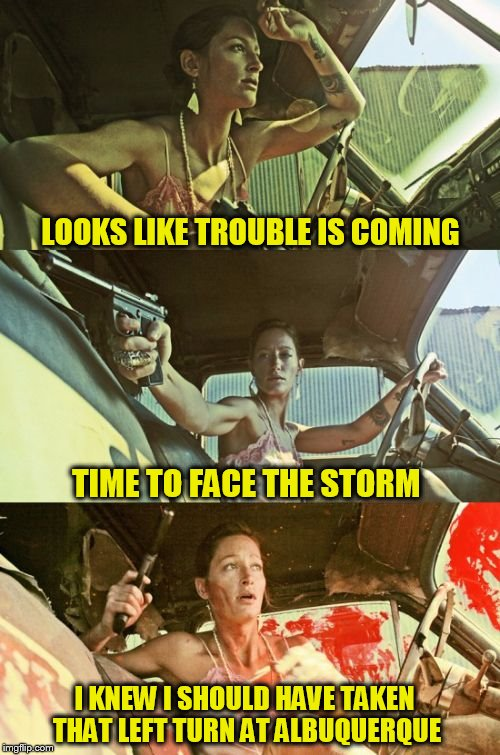 Bonnie Girl (A lynch1979 template) |  LOOKS LIKE TROUBLE IS COMING; TIME TO FACE THE STORM; I KNEW I SHOULD HAVE TAKEN THAT LEFT TURN AT ALBUQUERQUE | image tagged in bonnie girl,lynch1979,funny meme,pulp art,trouble,storm | made w/ Imgflip meme maker