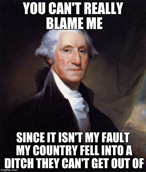 George Washington | YOU CAN'T REALLY BLAME ME SINCE IT ISN'T MY FAULT MY COUNTRY FELL INTO A DITCH THEY CAN'T GET OUT OF | image tagged in memes,george washington | made w/ Imgflip meme maker