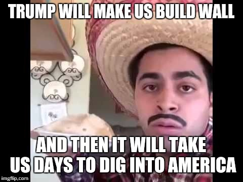 TRUMP WILL MAKE US BUILD WALL AND THEN IT WILL TAKE US DAYS TO DIG INTO AMERICA | made w/ Imgflip meme maker