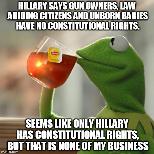 But Thats None Of My Business Meme | HILLARY SAYS GUN OWNERS, LAW ABIDING CITIZENS AND UNBORN BABIES HAVE NO CONSTITUTIONAL RIGHTS. SEEMS LIKE ONLY HILLARY HAS CONSTITUTIONAL RI | image tagged in memes,but thats none of my business,kermit the frog | made w/ Imgflip meme maker