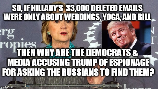 Trump's Trap | SO, IF HILLARY'S  33,000 DELETED EMAILS  WERE ONLY ABOUT WEDDINGS, YOGA, AND BILL THEN WHY ARE THE DEMOCRATS & MEDIA ACCUSING TRUMP OF ESPIO | image tagged in hillary clinton 2016,donald trump,deleted emails,fbi investigation | made w/ Imgflip meme maker