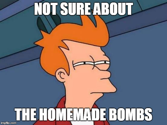 Futurama Fry Meme | NOT SURE ABOUT THE HOMEMADE BOMBS | image tagged in memes,futurama fry | made w/ Imgflip meme maker