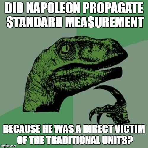Philosoraptor Meme |  DID NAPOLEON PROPAGATE STANDARD MEASUREMENT; BECAUSE HE WAS A DIRECT VICTIM OF THE TRADITIONAL UNITS? | image tagged in memes,philosoraptor | made w/ Imgflip meme maker