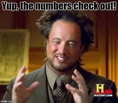 Ancient Aliens Meme | Yup, the numbers check out! | image tagged in memes,ancient aliens | made w/ Imgflip meme maker