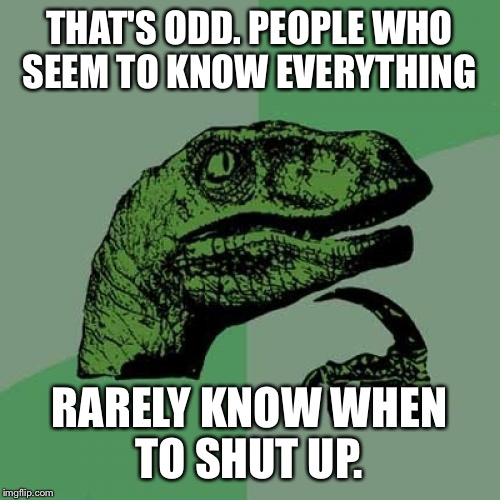 Philosoraptor Meme | THAT'S ODD. PEOPLE WHO SEEM TO KNOW EVERYTHING RARELY KNOW WHEN TO SHUT UP. | image tagged in memes,philosoraptor | made w/ Imgflip meme maker
