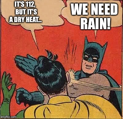 Batman Slapping Robin Meme | IT'S 112,  BUT IT'S A DRY HEAT... WE NEED RAIN! | image tagged in memes,batman slapping robin | made w/ Imgflip meme maker