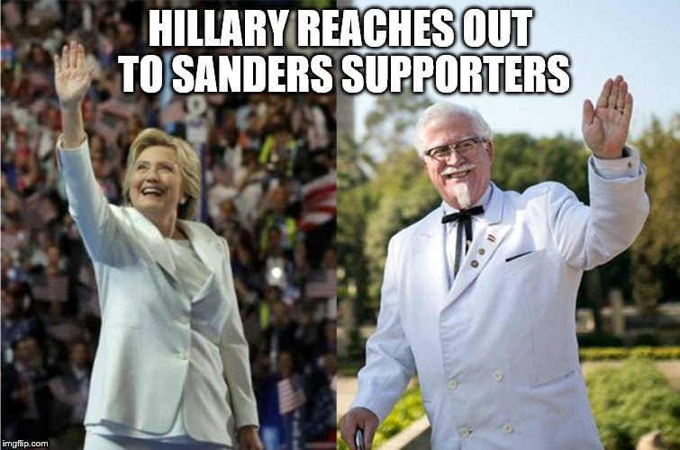 Who wore it best? | HILLARY REACHES OUT TO SANDERS SUPPORTERS | image tagged in hillary reaches out to saders supporters,hillary clinton 2016,bernie sanders | made w/ Imgflip meme maker