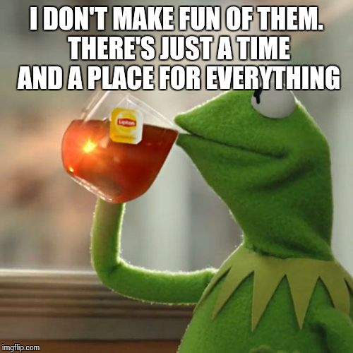 But Thats None Of My Business Meme | I DON'T MAKE FUN OF THEM. THERE'S JUST A TIME AND A PLACE FOR EVERYTHING | image tagged in memes,but thats none of my business,kermit the frog | made w/ Imgflip meme maker