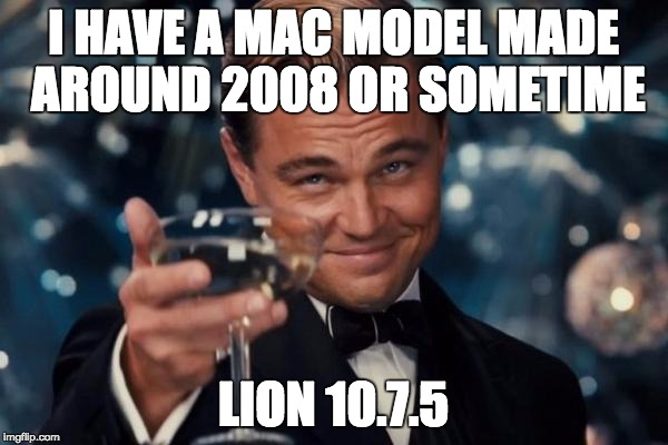Leonardo Dicaprio Cheers Meme | I HAVE A MAC MODEL MADE AROUND 2008 OR SOMETIME LION 10.7.5 | image tagged in memes,leonardo dicaprio cheers | made w/ Imgflip meme maker