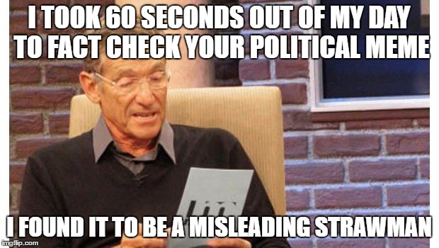 maury povich |  I TOOK 60 SECONDS OUT OF MY DAY TO FACT CHECK YOUR POLITICAL MEME; I FOUND IT TO BE A MISLEADING STRAWMAN | image tagged in maury povich | made w/ Imgflip meme maker