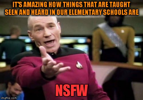 Picard Wtf Meme | IT'S AMAZING HOW THINGS THAT ARE TAUGHT SEEN AND HEARD IN OUR ELEMENTARY SCHOOLS ARE NSFW | image tagged in memes,picard wtf | made w/ Imgflip meme maker