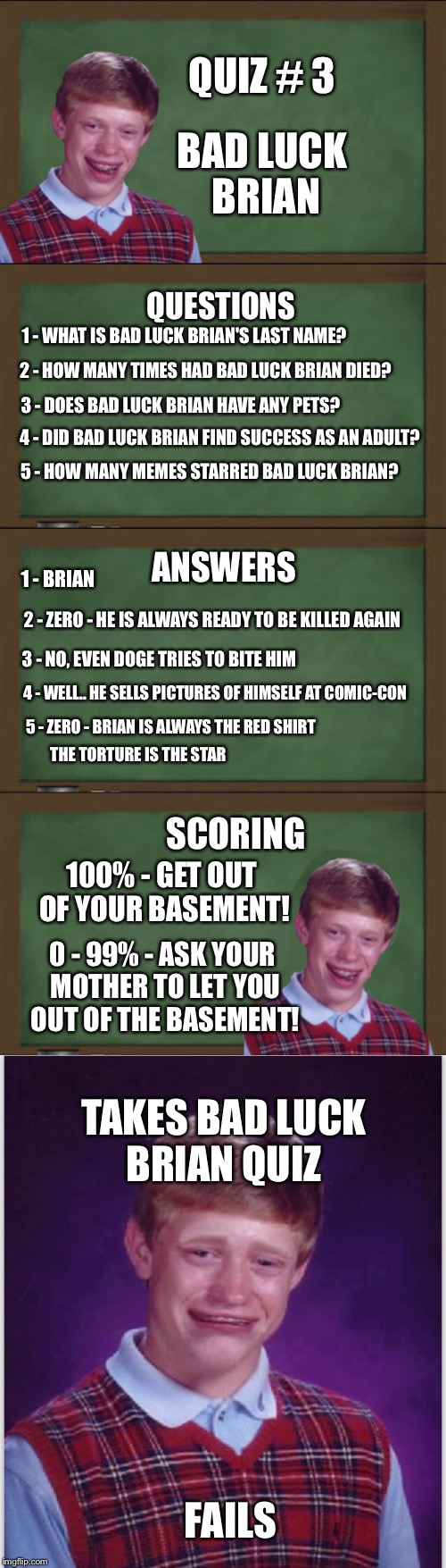 ***imgflip 101*** Do you know your template? Take the quiz.  | QUIZ # 3 BAD LUCK BRIAN QUESTIONS 1 - WHAT IS BAD LUCK BRIAN'S LAST NAME? 2 - HOW MANY TIMES HAD BAD LUCK BRIAN DIED? 3 - DOES BAD LUCK BRIA | image tagged in memes,bad luck brian,quizzes,welcome to imgflip | made w/ Imgflip meme maker