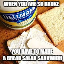 Broke AF. | WHEN YOU ARE SO BROKE YOU HAVE TO MAKE A BREAD SALAD SANDWICH | image tagged in mayo,mustard,bread,kill me now | made w/ Imgflip meme maker