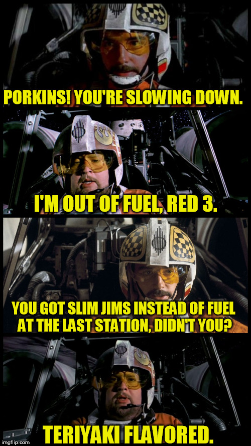Star Wars Porkins | PORKINS! YOU'RE SLOWING DOWN. I'M OUT OF FUEL, RED 3. YOU GOT SLIM JIMS INSTEAD OF FUEL AT THE LAST STATION, DIDN'T YOU? TERIYAKI FLAVORED. | image tagged in star wars porkins,memes,porkins,star wars | made w/ Imgflip meme maker