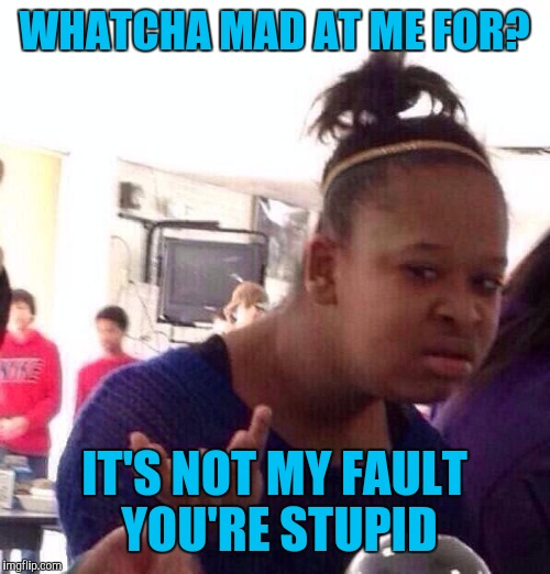 When a customer gets mad at YOU because THEY made an incorrect assumption | WHATCHA MAD AT ME FOR? IT'S NOT MY FAULT YOU'RE STUPID | image tagged in memes,black girl wat | made w/ Imgflip meme maker