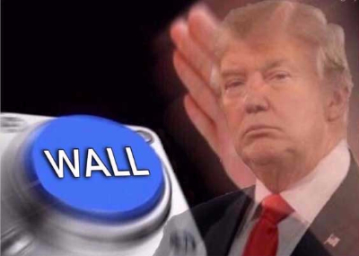 Trump wall button  Blank Meme Template
