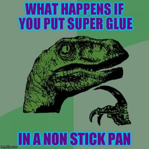 Philosoraptor Meme | WHAT HAPPENS IF YOU PUT SUPER GLUE IN A NON STICK PAN | image tagged in memes,philosoraptor | made w/ Imgflip meme maker