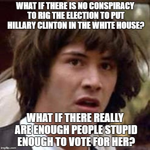 Conspiracy Keanu Meme | WHAT IF THERE IS NO CONSPIRACY TO RIG THE ELECTION TO PUT HILLARY CLINTON IN THE WHITE HOUSE? WHAT IF THERE REALLY ARE ENOUGH PEOPLE STUPID  | image tagged in memes,conspiracy keanu | made w/ Imgflip meme maker