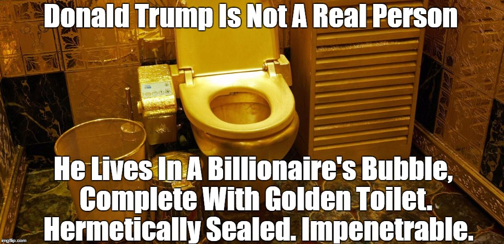 Donald Trump Is Not A Real Person He Lives In A Billionaire's Bubble, Complete With Golden Toilet.  Hermetically Sealed. Impenetrable. | made w/ Imgflip meme maker