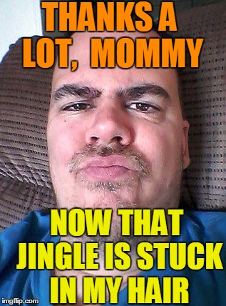 Scowl | THANKS A LOT,  MOMMY NOW THAT JINGLE IS STUCK IN MY HAIR | image tagged in scowl | made w/ Imgflip meme maker