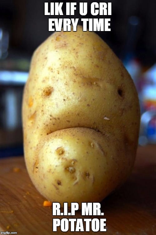 sad potato | LIK IF U CRI EVRY TIME R.I.P MR. POTATOE | image tagged in sad potato | made w/ Imgflip meme maker