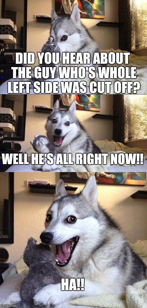 Bad Pun Dog Meme | DID YOU HEAR ABOUT THE GUY WHO'S WHOLE LEFT SIDE WAS CUT OFF? WELL HE'S ALL RIGHT NOW!! HA!! | image tagged in memes,bad pun dog | made w/ Imgflip meme maker