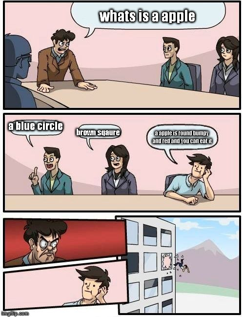 Boardroom Meeting Suggestion | whats is a apple a blue circle brown sqaure a apple is round bumpy and red and you can eat it | image tagged in memes,boardroom meeting suggestion | made w/ Imgflip meme maker