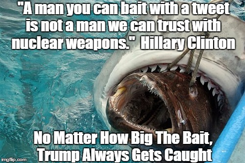 """A man you can bait with a tweet is not a man we can trust with nuclear weapons.""  Hillary Clinton No Matter How Big The Bait, Trump Always  