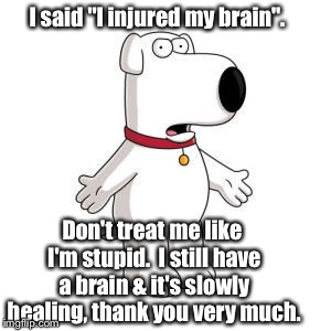 "Give Me A Break! | I said ""I injured my brain"". Don't treat me like I'm stupid.  I still have a brain & it's slowly healing, thank you very much. 