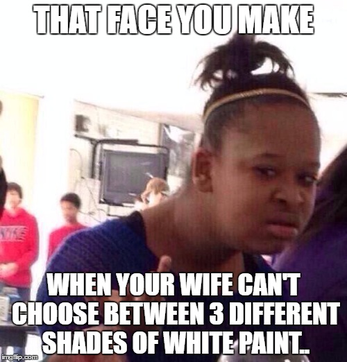 Black Girl Wat Meme | THAT FACE YOU MAKE WHEN YOUR WIFE CAN'T CHOOSE BETWEEN 3 DIFFERENT SHADES OF WHITE PAINT.. | image tagged in memes,black girl wat | made w/ Imgflip meme maker