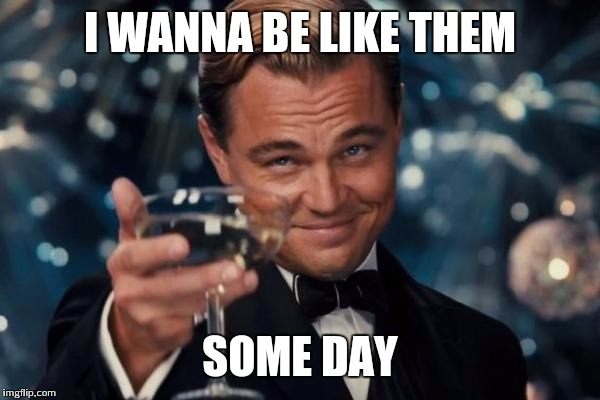 Leonardo Dicaprio Cheers Meme | I WANNA BE LIKE THEM SOME DAY | image tagged in memes,leonardo dicaprio cheers | made w/ Imgflip meme maker